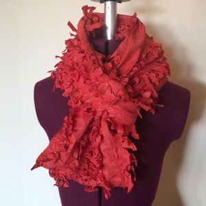 Wijn Ants Wijnants Orange Red Ruffle Scarf